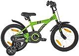 PROMETHEUS Kinderfahrrad 16 Zoll Jungen in Grün & Schwarz mit Stützrädern | Seitenzugbremse und Rücktrittbremse | ab 5 Jahren | 16