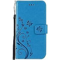 Herbests Handytasche für Samsung Galaxy S9 Leder Hülle Ledertasche Handyhülle 3D Schmetterling Prägung Muster Flip Case Cover Bookstyle Brieftasche Dünn Tasche Etui Kartenfächer,Blau