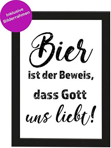 PICSonPAPER Poster DIN A4 Bier IST DER Beweis, DASS Gott Uns LIEBT!, gerahmt mit schwarzem Bilderrahmen, Geburtstagsgeschenk, Poster mit Rahmen, Kunstdruck, Typographie (Bier ist der Beweis)