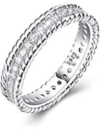 YAZILIND 925 Sterling Silver Anniversary Rings Fashion Simple Cubic Zirconia Wedding Anniversary Gift for Women