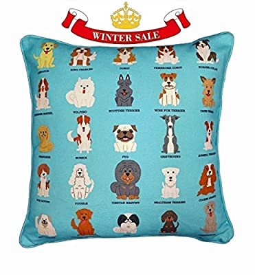 BRITISH ROYAL DOG Breeds Original Design UK Handmade Cushion with Inner for Living Room, Adorable Dogs Cushion, Dog Owner Gift, Cushion for Children's Bedroom, Beautiful Sofa Accessory, Dog Bed Cushion, Dog Lover Pillow
