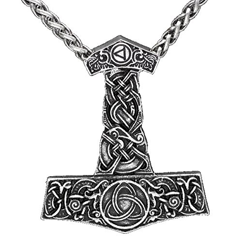 Viking Thor \'s Hammer Thorhammer Anhänger Halskette Silber vergoldet Knotenmuster Knoten Arbeit Mjölnir
