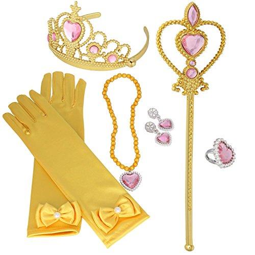 s Up Accessoires 6 Stück Krone Ohrringe Ringe Halskette Handschuhe Gelb Zauberstab Geschenkset für Mädchen Geburtstag Karneval-Partei Halloween Cosplay Prinzessin Kostüme ()