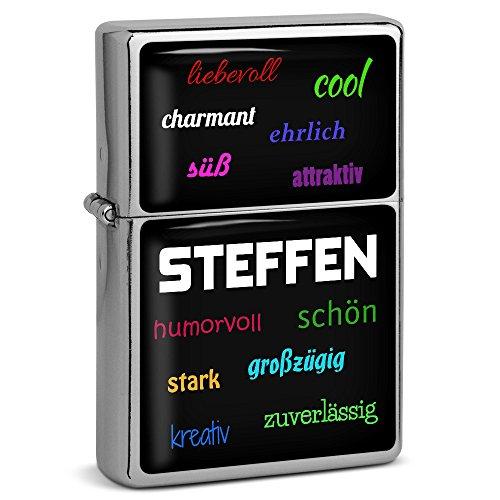 PhotoFancy® - Sturmfeuerzeug Set mit Namen Steffen - Feuerzeug mit Design Positive Eigenschaften - Benzinfeuerzeug, Sturm-Feuerzeug