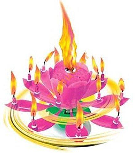 """Musik Blumenkerzen rosa Alles Gute zum Geburtstag mit Fontäne und Musik Kerzen Tortendeko Hochzeitsfontäne 14 Kerzen mit der bekannten Melodie """"Happy Birthday"""""""
