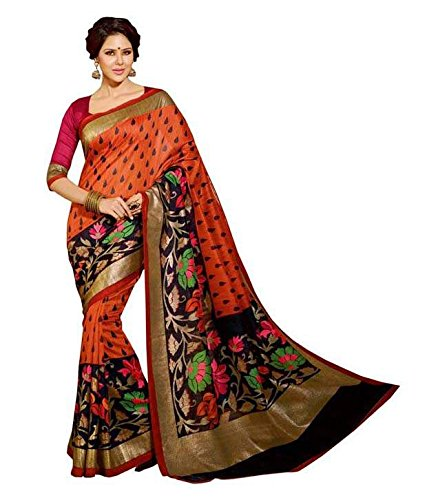 Sarees (Impartus Lifestyle Women\'s Clothing Saree For Women Latest Design Wear Sarees Collection in Orange Coloured Latest Saree With Designer Blouse Free Size Beautiful Bollywood Saree For Women Par