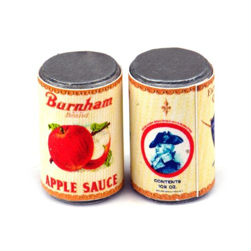MyTinyWorld 2 x Maison de poupées miniature Burnam pomme sauce BOITE (Années 1930)
