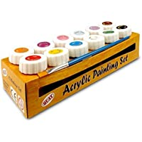 Assortiment de peintures acryliques 12 Colour Blue/Brown/Pink/Red/White/Yellow