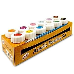 Set di colori acrilici 12 Colour Blue/Brown/Pink/Red/White/Yellow