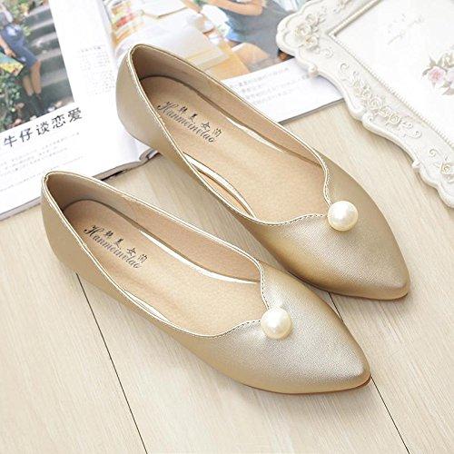 & QQ Bridal Shoes, flach Perle, Vier Jahreszeiten Scoop Schuhe, Mode Schuhe 42