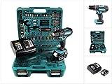 Makita DHP 482 STTK Akku Schlagbohrschrauber 18 V 62Nm im Koffer + 5,0 Ah Akku + Ladegerät + 101 tlg. Zubehör Set