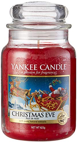 Yankee Candle Glaskerze, groß, Christmas Eve (Red Wreath Yankee Candle Apple)