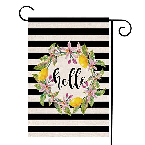 YOENYY Hello Lemon Kranz kleine Gartenflagge Sommer Bauernhaus Jute vertikal doppelseitig Yard Dekoration 31,8 x 45,7 cm Einweihungsgeschenk Hochzeitsgeschenk (Winter-kranz Sackleinen)