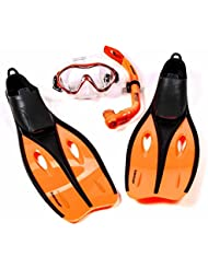 Kinder-Profi-Schnorchel-Set mit Tauchmaske, Schnorchel und Flossen, Größe S oder XS, lieferbar in den Farben blau, grün, oder orange