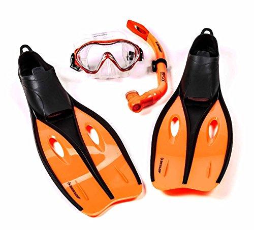 Kinder-Profi-Schnorchel-Set mit Tauchmaske, Schnorchel und Flossen, Größe S oder XS, lieferbar in den Farben Blau, Grün, oder Orange (XS (32-34), Orange)
