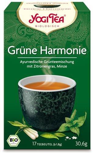 Yogi Tee, Grüne Harmonie, 4er SPARPACK , Biotee, grüner Tee mit Kombucha, unkompliziert & Genussvoll, je 17 Teebeutel a 30,6g