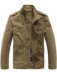 SZYYSD Hombre Autumn algodón ocio Militar ejército Chaquetas abrigo Ropa manga larga