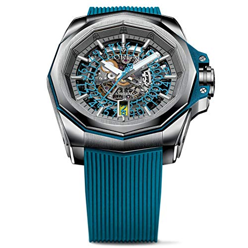 Corum Men's Admiral 5 Squelette 45mm Blue Rubber Band Titanium Case Automatic Watch 082.401.04/F373 FH53