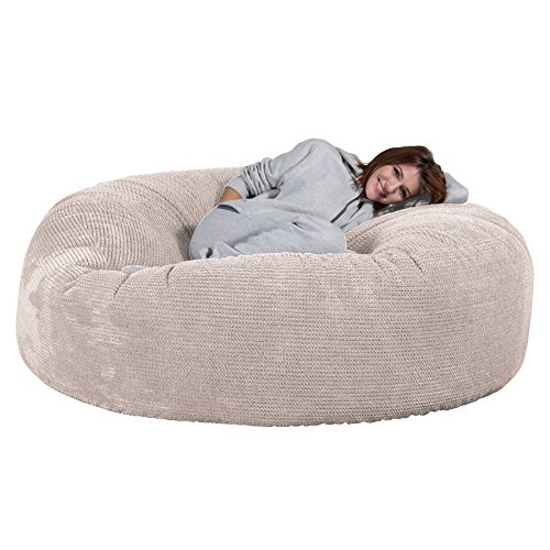 Lounge pug®, pouf sacco gigante xxxl 'mega mammut', pompon - panna