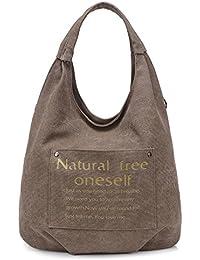 Hiigoo Casual Bags Canvas Totes Shopping Bag Environmental Handbags Travel Shoulder Bag (Brown)
