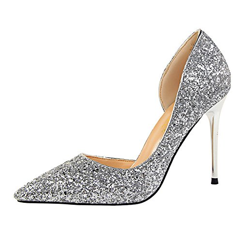 BaZhaHei Damen Pumps Extrem High Heels Dünne Durchgängies Plateau Sandalen mit Keilabsatz Feine Ferse Seite hohl Glitter Hochhackige Schuhe Party Wedding Dress Schuhe -