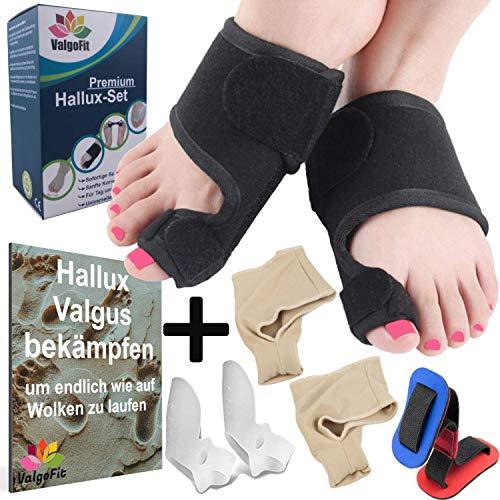 ValgoFit® Hallux Valgus Set - effektiv und komfortabel - Korrektur Schiene - Bunion-Socke - Silikon Gel Zehen-Spreizer - Zehentrenner Damen und Herren -inkl. eBook und 1 Jahr Geld zurück