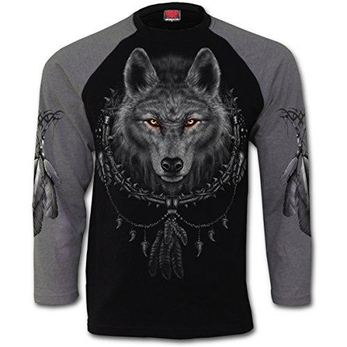 Sueños del lobo, lobo de metal gótico fantasía atrapasueños manga larga camiseta negro - S - Spiral