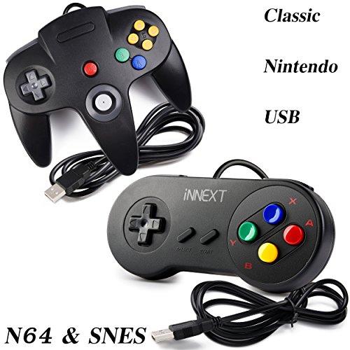 iNNEXT USB Super Classic Controller Gamepad, USB N64 Controller & SNES Super Famicom Controller für Windows PC Mac Linux Raspberry Pi 3 Sega Genesis Higan (schwarz) 2 Stück