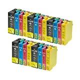 20 Tintenpatronen für Epson T1301 T1302 T1303 T1304 - Schwarz 5x je 30ml,color je 5 x 20ml, kompatibel zu T1301 - T1304