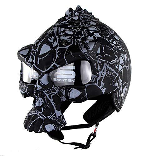 ZXDHELMET Helm mit halbem Schädel offenem Gesicht Helm Eingebaute UV-Brille Abnehmbare Maske DOT-zertifizierter Moto Dark Knight,Blackprint,M56~54cm