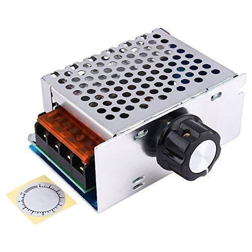 Yosoo Controlador de velocidad de alta potencia de 4000W 220V AC SCR regulador de voltaje del motor eléctrico Dimmer