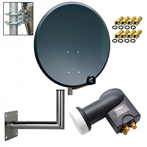 PremiumX Digital SAT Anlage 80 cm Stahl Schüssel Spiegel Antenne Anthrazit + PremiumX Quad LNB PXQS-SE 0,1dB für 4 Teilnehmer + Wandhalter 35cm ALU TÜV-Geprüft + 8 F-Stecker 7mm vergoldet