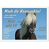 Lustige Geburtstagseinladung, Motiv Pferd mit schönen Haaren - für Reiter, Friseure, Pferdeliebhaber, 20 Karten - 17 x 12 cm