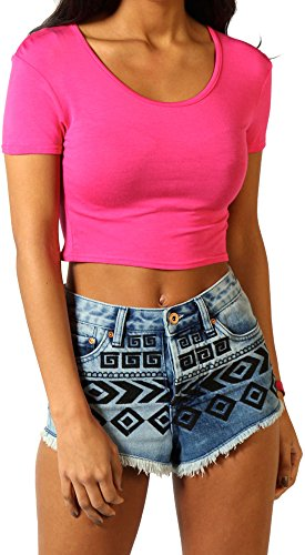 Re Tech UK Damen Kurzärmlig Bauchfreies Top Mode T-Shirt Rundhals Sommer Größen 8-14 Hot Pink