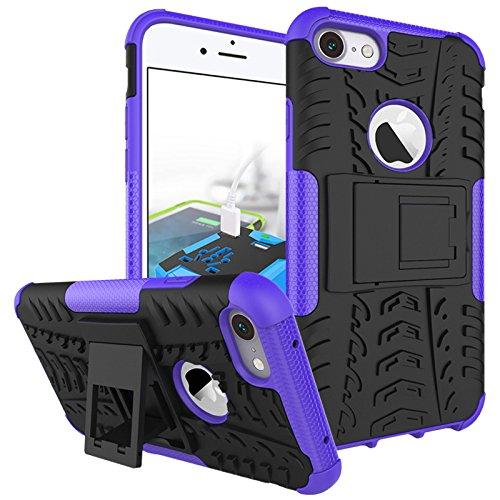 Hülle für iPhone 7 Plus, adorehouse 2 in 1 Hard PC Interior Soft TPU Hybrid Cover Abnehmbare Rüstung Defender mit Kickstand Anti-Rutsch-Shock Absorption Slim Kissen zurück Schützende Shell für iPhone  Lila