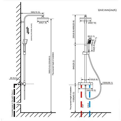 Auralum set de ducha termost tica columna de ducha for Platos de ducha medidas estandar