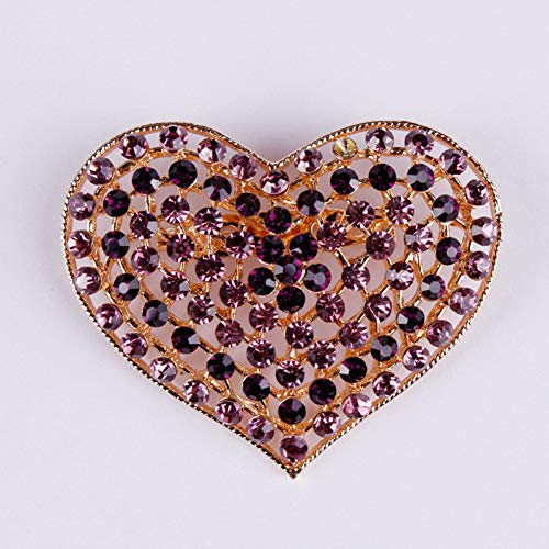 MYHMG Brosche Red Crystal Rhinestone Heart Brooches and Pins Women Clothes Accesseries