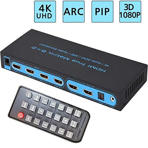 FiveHome 4K x 2K @ 30Hz 6x2 HDMI Matrix Switch Ultra HD 6 in 2 Out HDMI HD True Matrix Switch/Splitter mit SPDIF und L/R 3,5 mm HDMI Audio Extractor - Unterstützt Pip, ARC, 3D 1080p Av Matrix Switcher