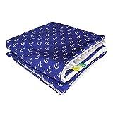 75x100cm Minky Babydecke Kuscheldecke Krabbeldecke Decke Super weich und flauschig Handarbeit (Anker Blau Grau)