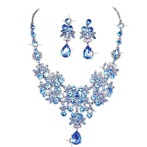 Kette Damen, HUIHUI Böhmische Strass geometrische Edelstein Anhänger Damen elegant Strass Perlenkette Halskette Pendant Halskette Kette amulett zum öffnen mit kette Halskette + Ohrring Sets (Blau)