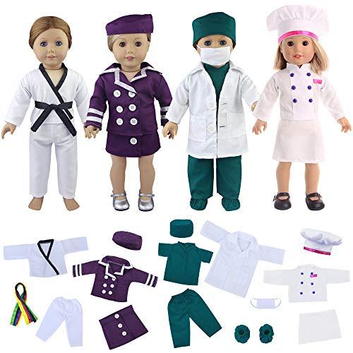 niform Puppenkleidung Spielset Beruf Bekleidung Kleider Set für 45cm-46cm Puppe Pilot Chef Chefmantel Ärztin Taekwondo Kostüm Puppenkleid ()
