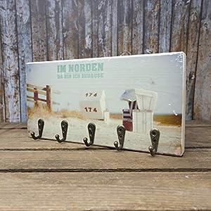 elbPLANKE mit Haken – Im Norden | 12×24 cm | Schlüsselbrett von Fotoart-Hamburg | mit 5 Antike Haken aus Holz (Kiefer/Fichte) – 100% Handmade
