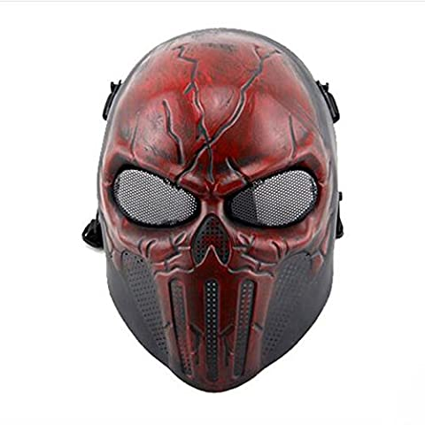 WorldShopping4U Tactical Airsoft Full Face Skull Skeleton Mask Paintball Game Cs War Game Protection Safety Guard for Outdoor Hunting Activity Costume Bar Theme Party Halloween Carnival Cosplay RED