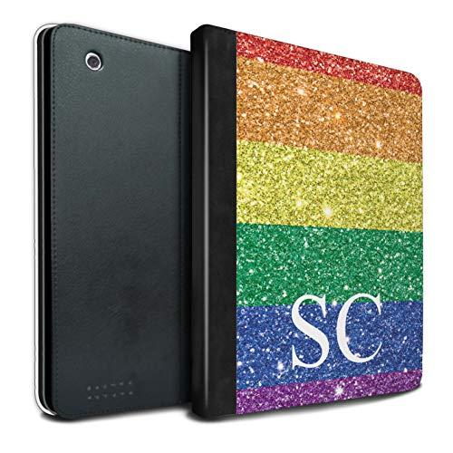 Stuff4® Personalisiert Benutzerdefinierte LGBT Gay Pride PU-Leder Hülle für Apple iPad 2/3/4 / Gedrucktes Glitter Monogramm Design/Initiale/Name/Text Tablet Schutzhülle/Tasche/Etui (Benutzerdefinierte Gedruckte Taschen)