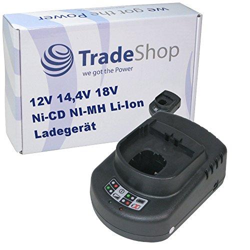 Trade-Shop Universal Akku Ladegerät (12V 14,4V 18V Ni-CD Ni-MH Li-Ion) Ladestation Schnellladegerät für Ryobi CJS-180L CJS-180LM CJSP-1801QEOM CJSP-180QEO CJSP-180QEOM CMD-1802 CMD-1802M CMI-1802 CMI-1802M CML-180M CNS-1801M
