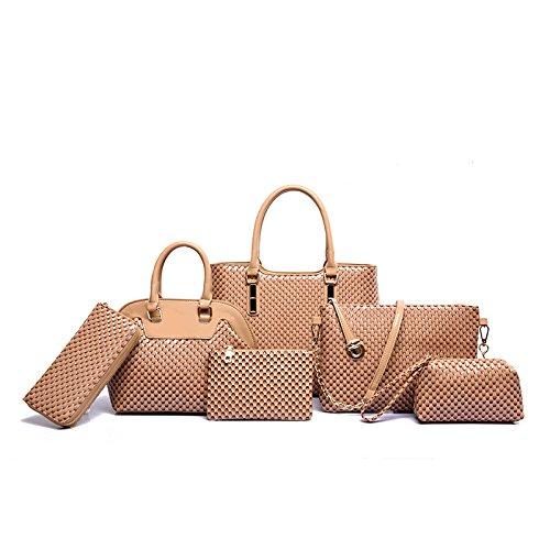 Mefly Il lusso di fascia alta borsette Identificazione di sei pezzi di moda autunno All-Match Invia Zero Wallet kaki Khaki