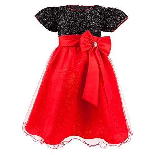Katara 1746 - Glitzer Fest-Kleid für Mädchen mit Tüll-Rock und Schleife, Tuetue knielang, Sommerkleid, schwarz/rot (Minnie Mouse Büro Kostüm)