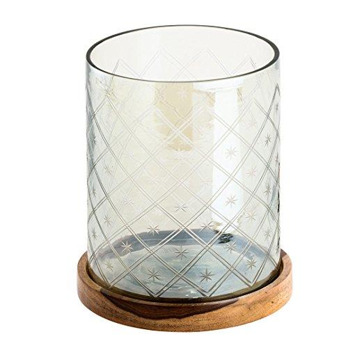 Glaswindlicht auf Holzplatte geschliffen grau 15cm