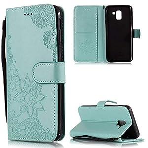 Handyhülle für Samsung Galaxy A6 Plus 2018 Tasche PU Leder Flip Case Brieftasche,Samsung Galaxy A6 Plus 2018 Hülle,FNBK Geprägtes Spitzen Blumen Holster Leder Flip Wallet Cover