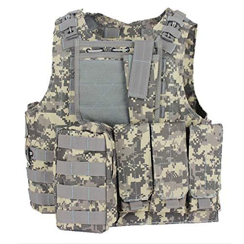 RZRCJ Militärische Taktische Weste CS Wargame Outdoor Ausrüstung Airsoft Plattenträger Multicam Army Molle Mag Ammo Brust Paintball Weste (Color : ACU, Size : One Size) -